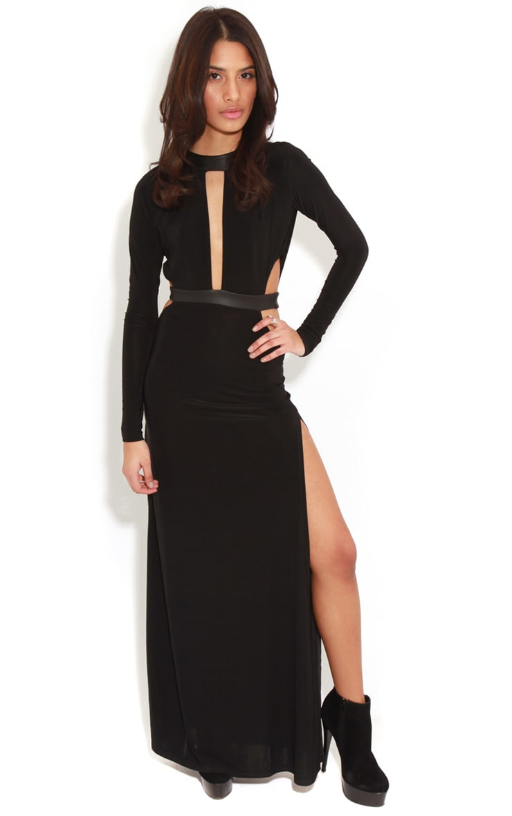 Luce Black Long Sleeve Cut Out Maxi Dress -12 4