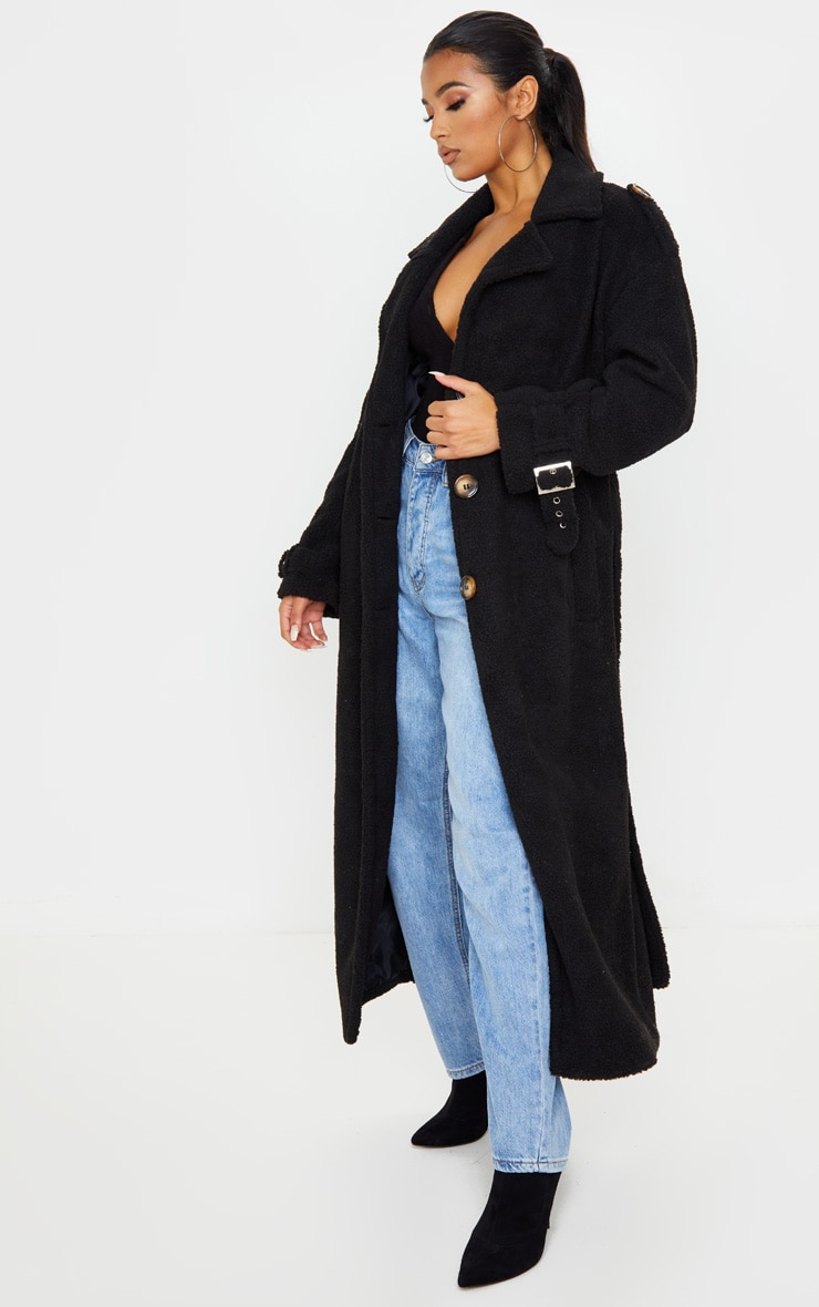 Black Borg Oversized Belted Coat 1