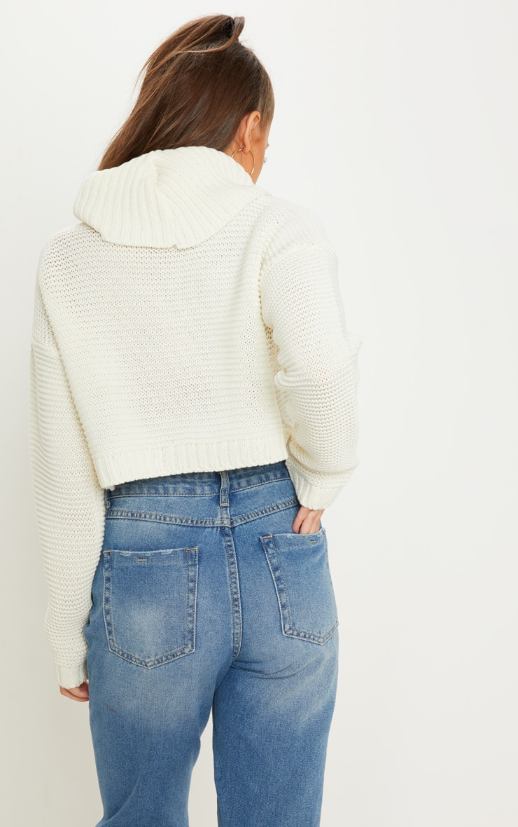 Cream High Neck Knitted Sweater  2