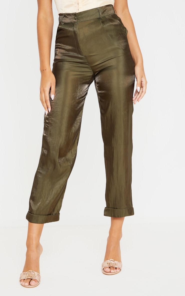 Khaki Shiny Cropped Turn Up Pants 2