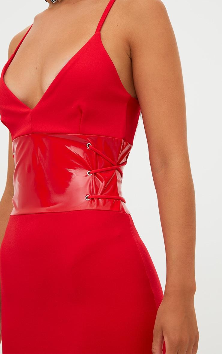 Red Corset Detail PU Bodycon Dress 5