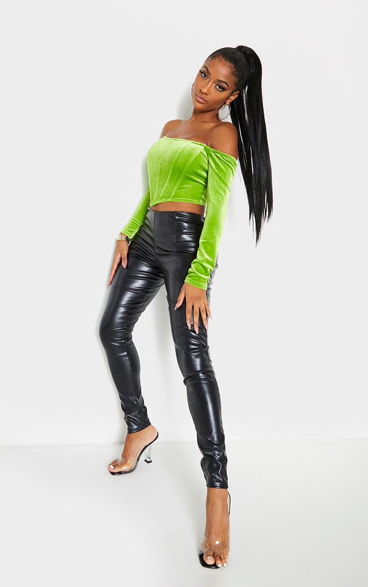 Shape Lime Velvet Bardot Long Sleeve Corset 3