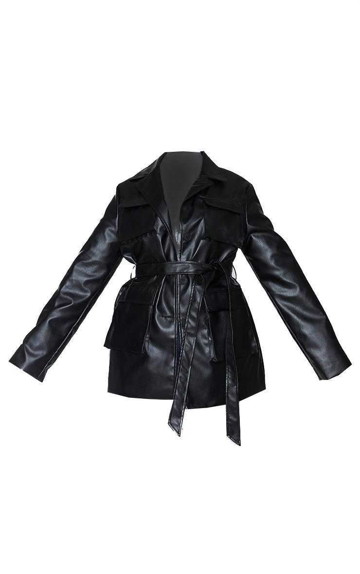 Plus Black PU Longline Pocket Front Jacket 5