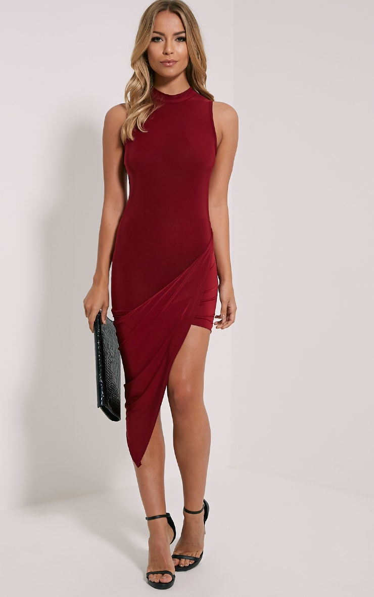 Prim Burgundy Slinky Drape Asymmetric Dress 1