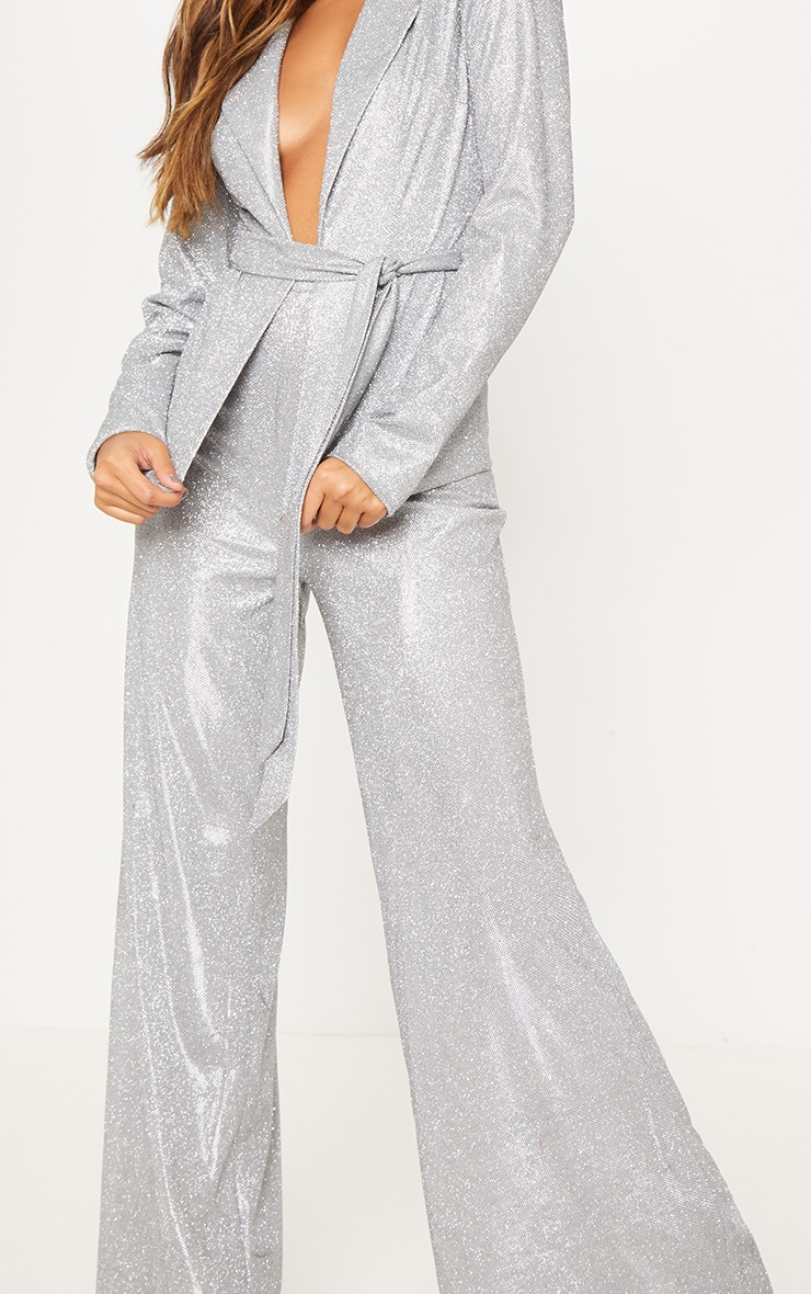 Silver High Waisted Wide Leg Pants 6