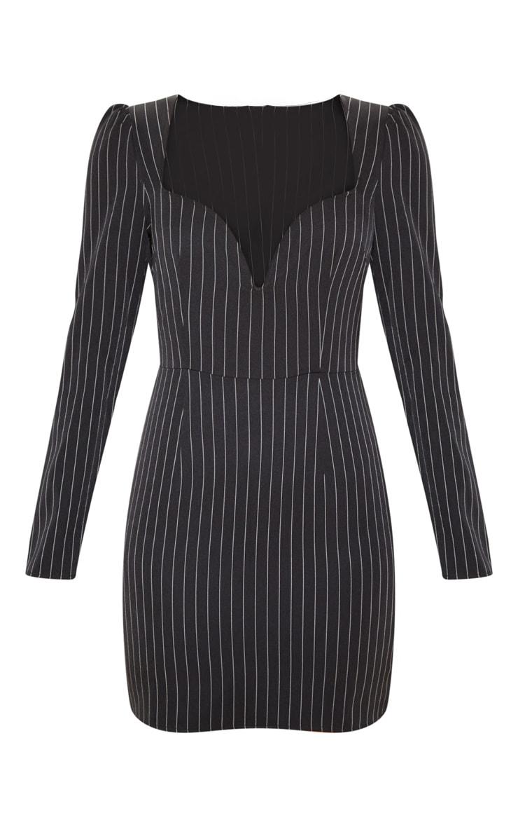Black Pinstripe V Bar Puff Sleeve Bodycon Dress 4
