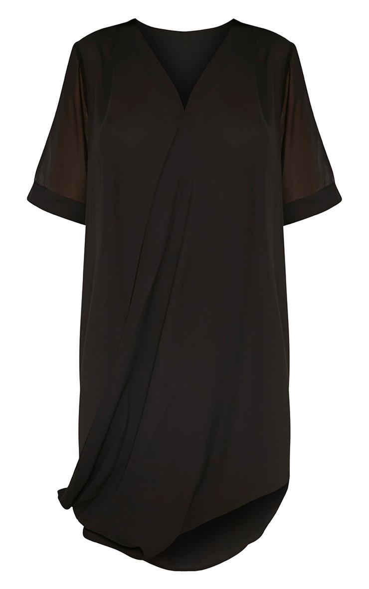 Jenia Black Wrap Front Chiffon Dress 6