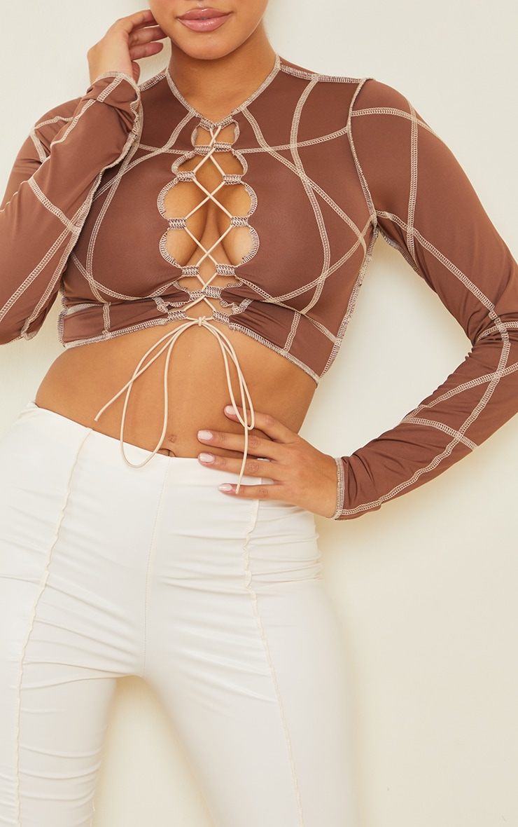 Shape Brown Contrast Stitch Lace Up Detail Crop Top 4