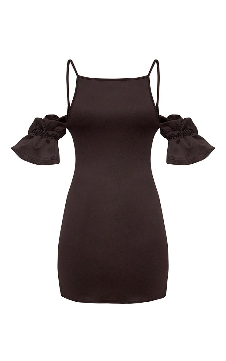 Black Ruffle Sleeve Detail Cold Shoulder Bodycon Dress 3