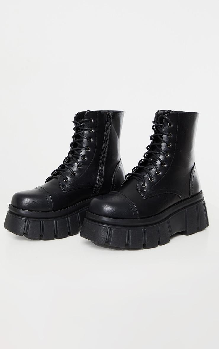 Black Extreme Flatform Sole Biker Boots 4