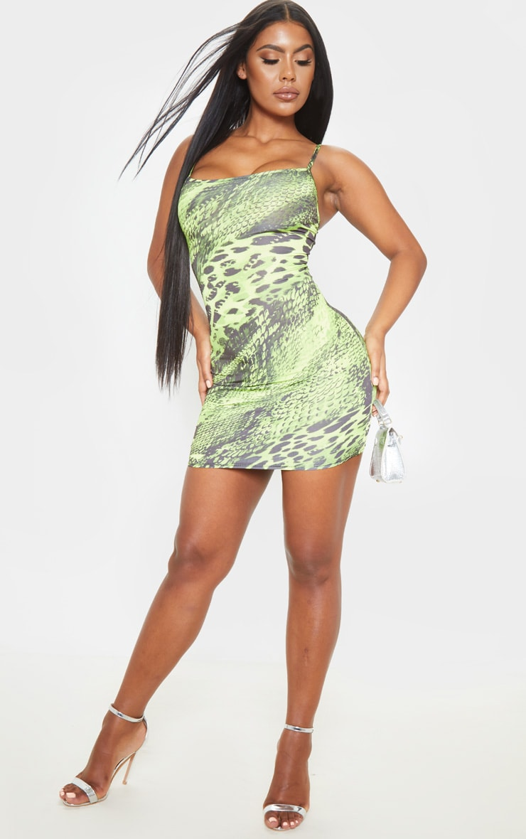 Lime Strappy Animal Print Bodycon Dress 4