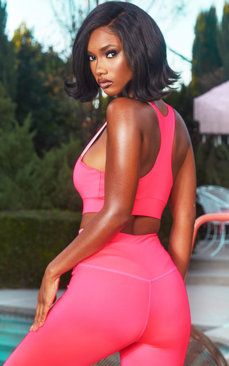 Hot Pink Racer Back Zip Gym Crop Top 2