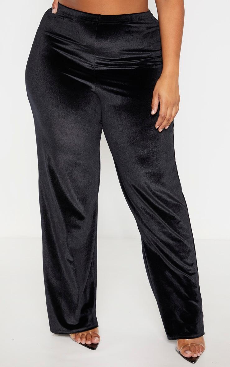 Plus Black Velvet Wide Leg Pants 2