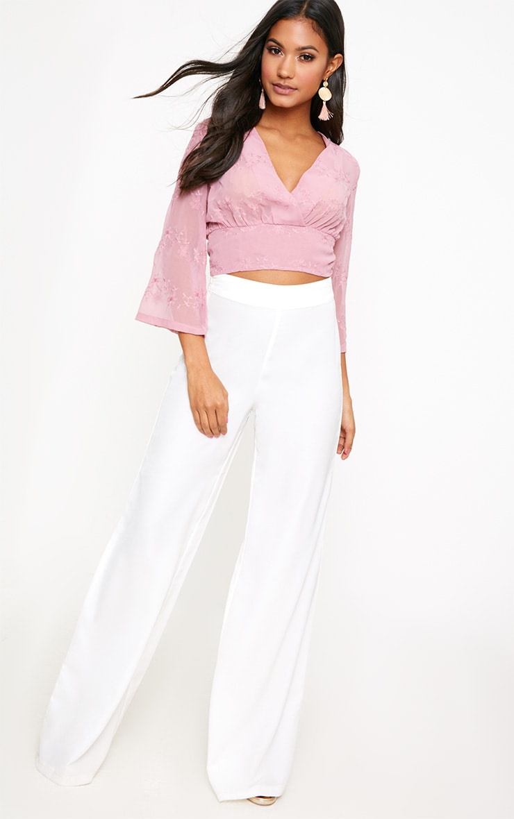 Blush Embroidered Plunge Crop Blouse 3