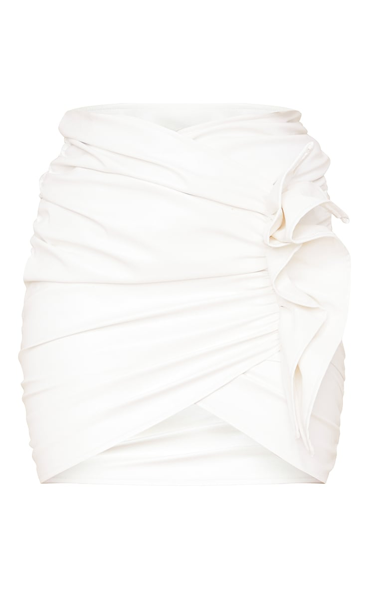White Detailed Faux Leather Ruched Mini Skirt 6