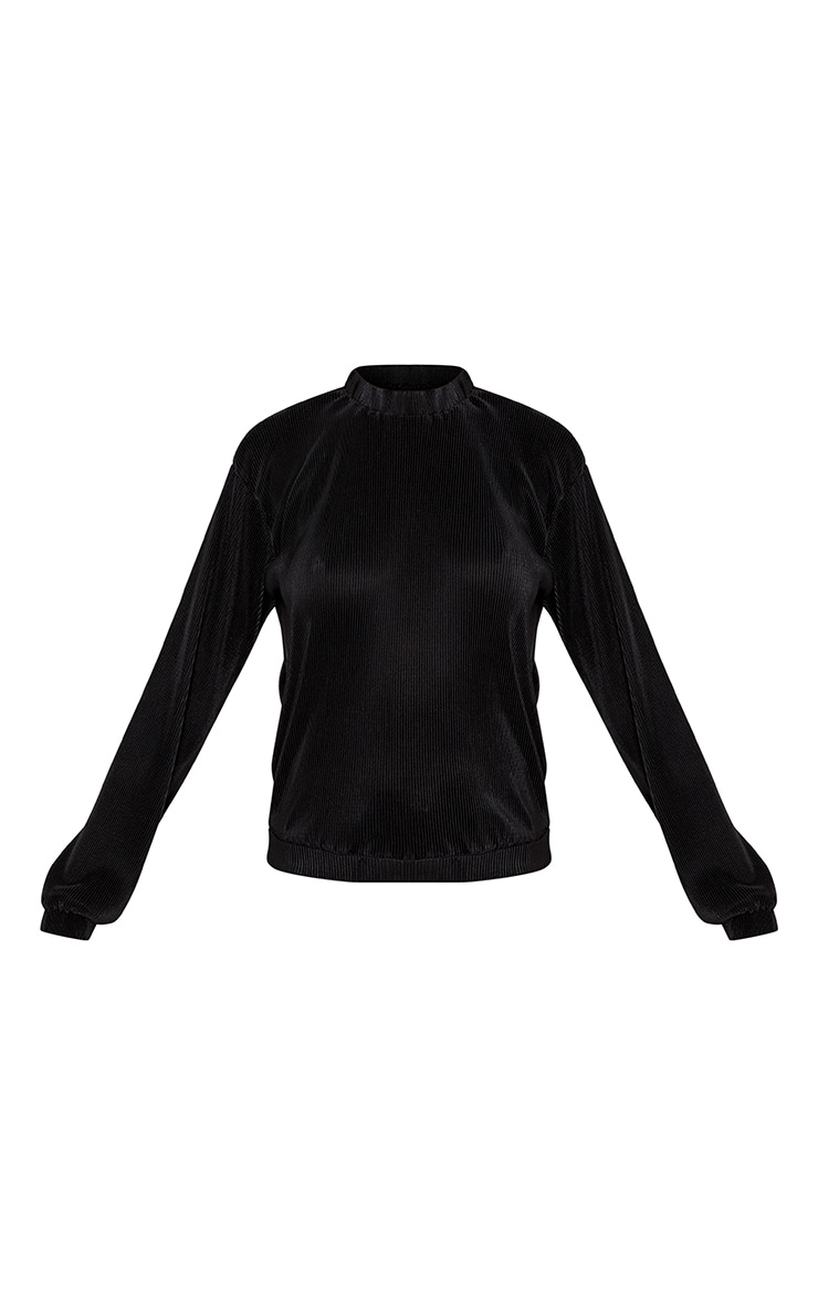 Mabel Black Satin Pleat Crew Neck Sweater 3