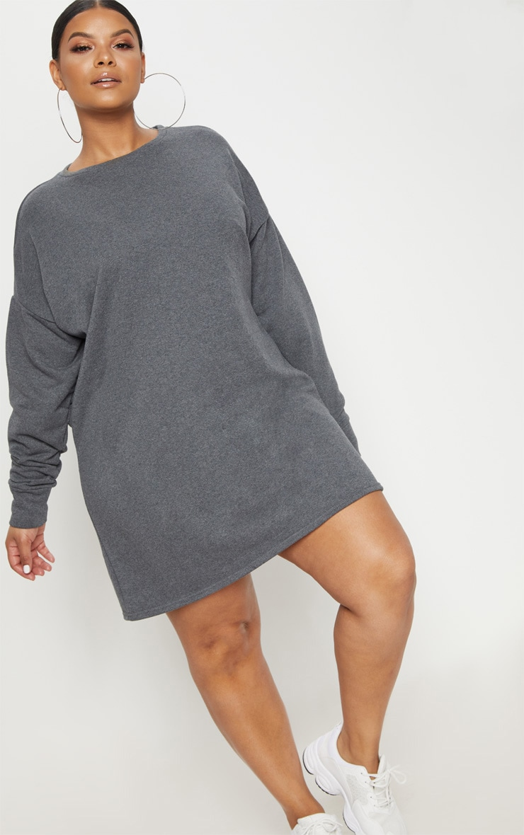 Plus Charcoal Oversized Sweater Dress 1