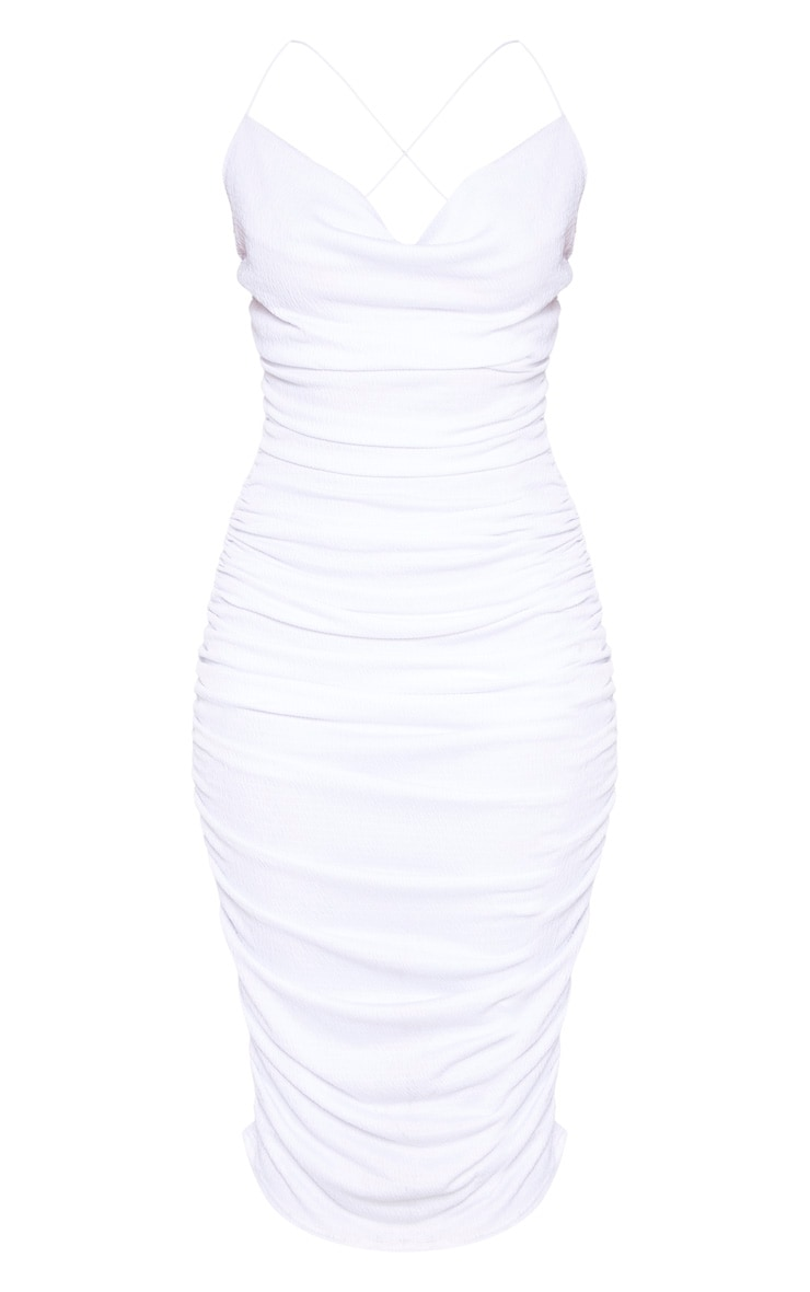 White Crinkle Texture Ruched Cowl Neck Midi Dress 3