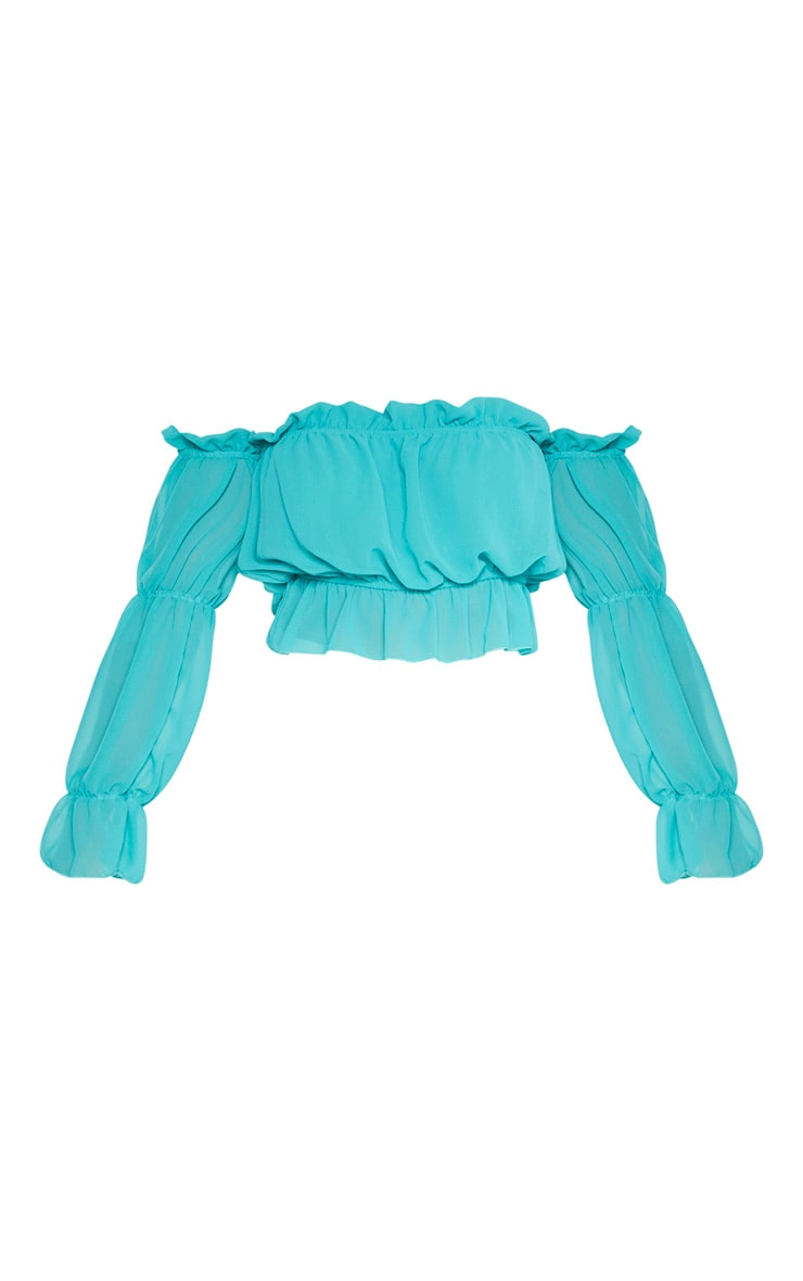Dusty Turquoise Woven Ruffle Bardot Flared Sleeve Blouse 3