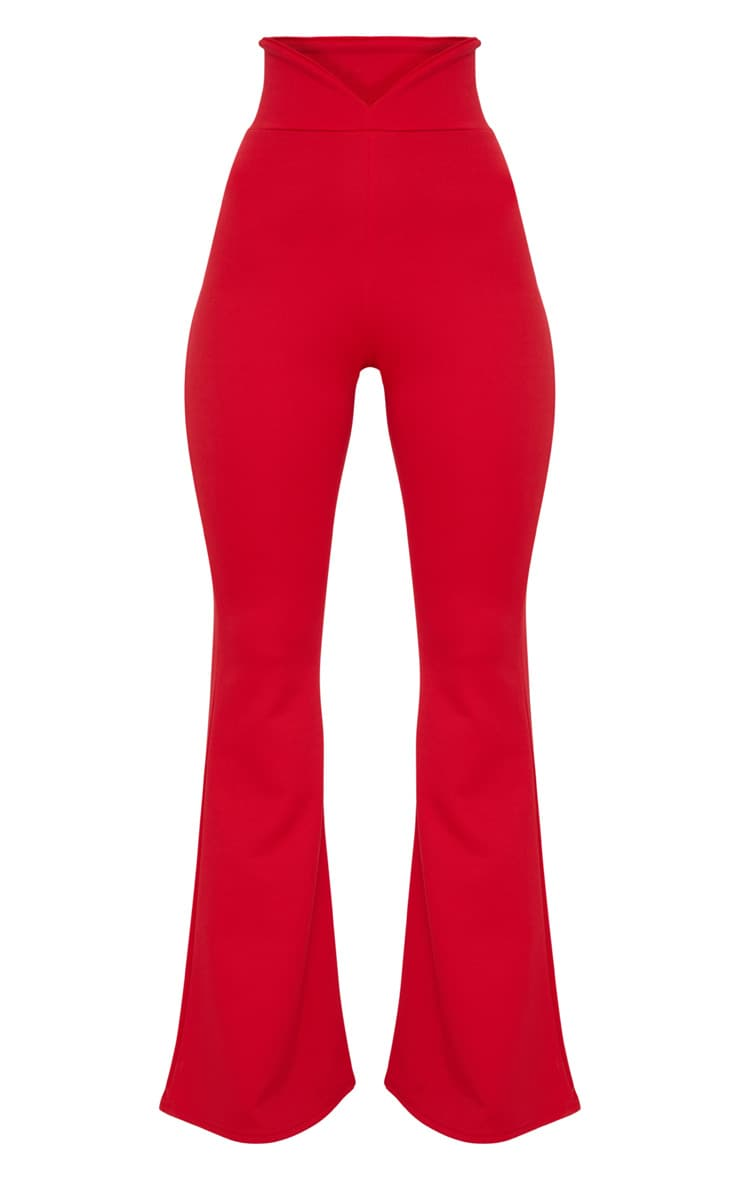 Red Scuba Curve Waist Band Detail Flared Pants  3