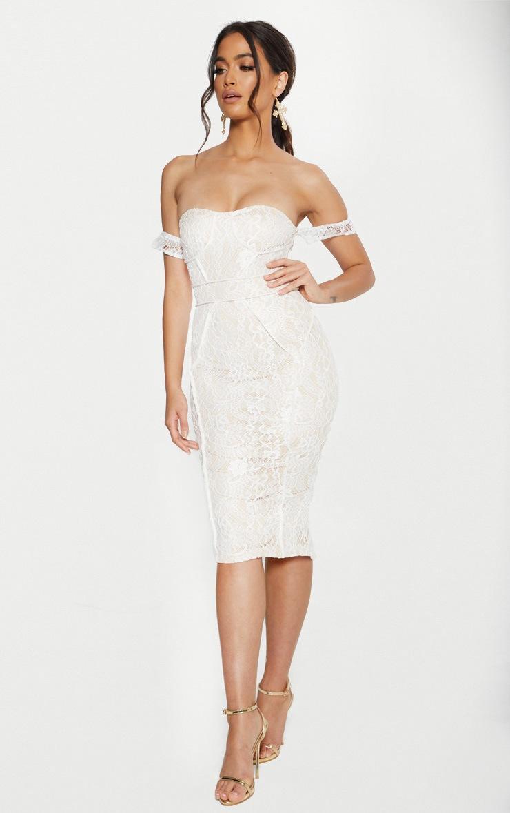 White Lace Binding Detail Bardot Midi Dress 4