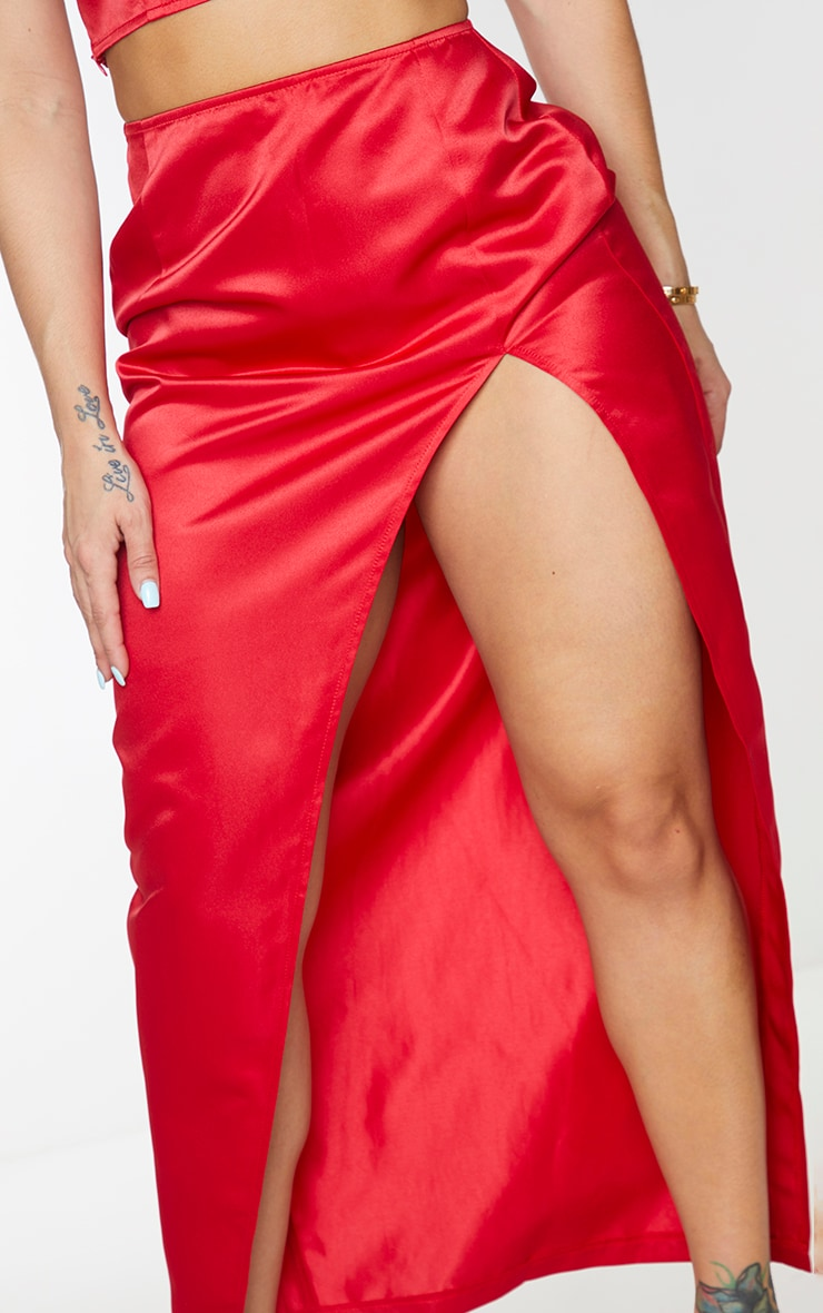 Shape Red Structured Satin Split Detail Midaxi Skirt 4