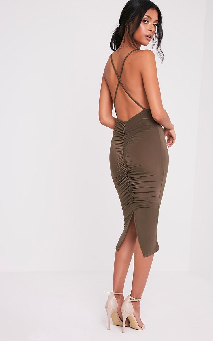 Kayda Khaki Cross Back Cowl Neck Slinky Midi Dress 4