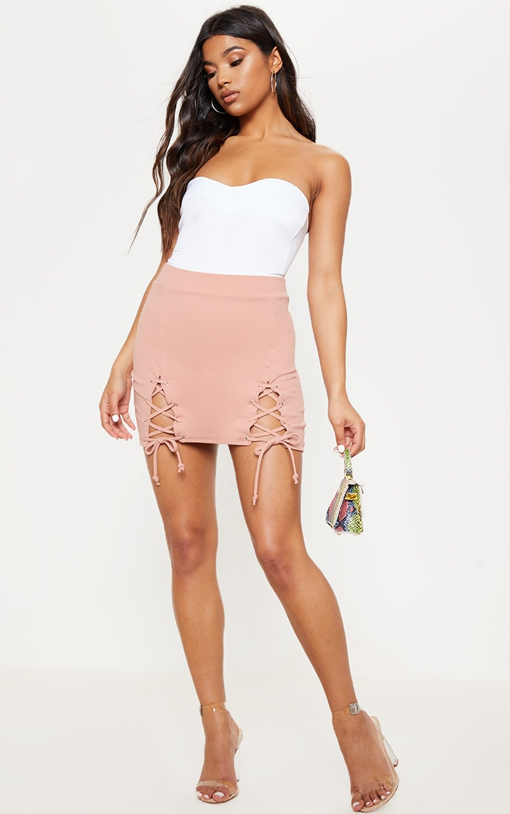 Pink Double Split Lace Up Mini Skirt 5