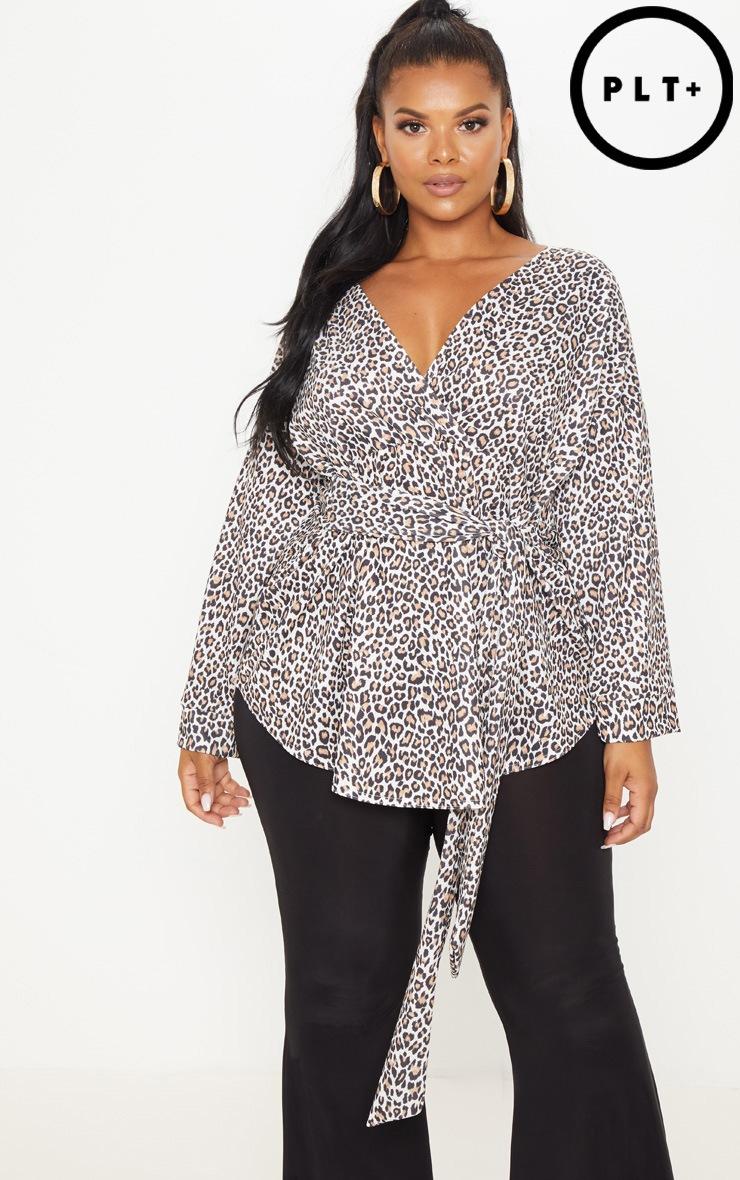 Plus Tan Leopard Print Tie Waist Blouse 1