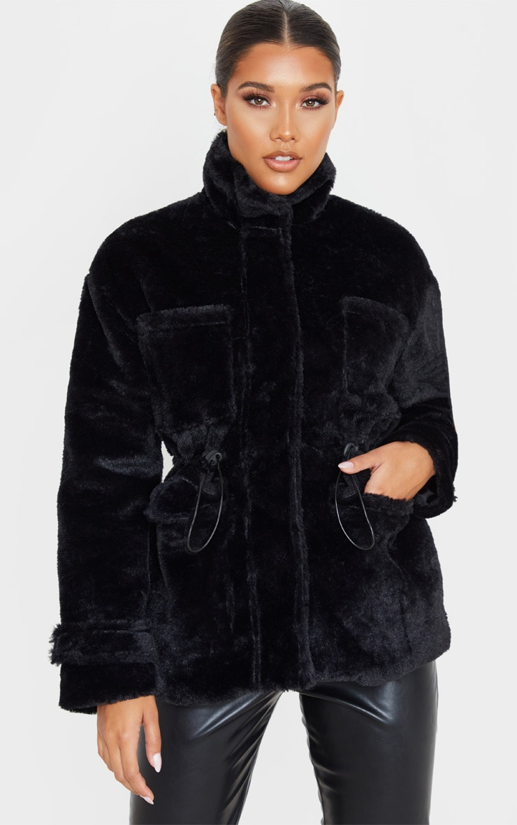 Black Faux Fur Gathered Waist Jacket 1