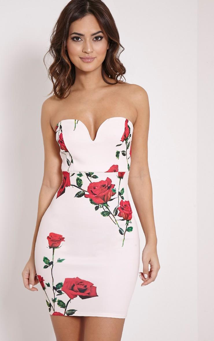 Michelle Nude Rose Print Bandeau Dress 1