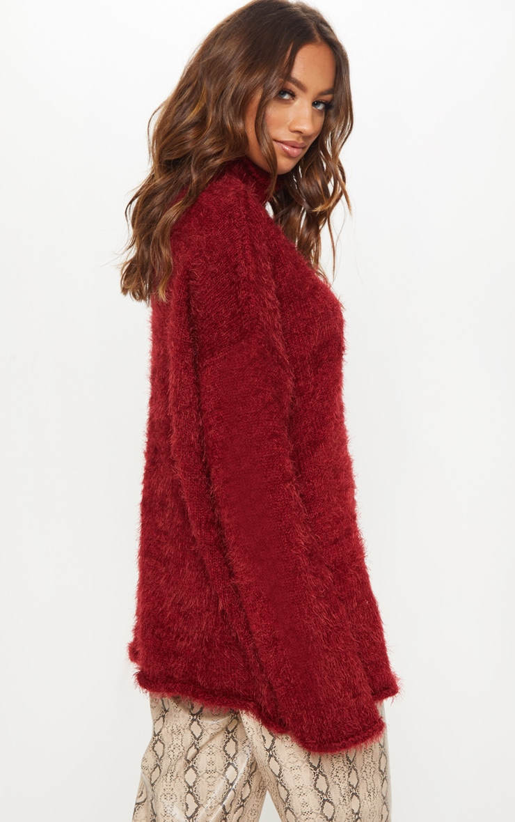 Burgundy Oversized Eyelash Sweater 2