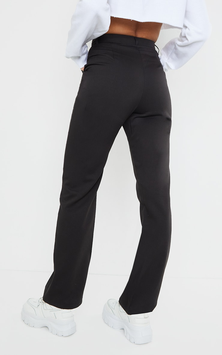Black Woven Seam Front Dad Pants 3