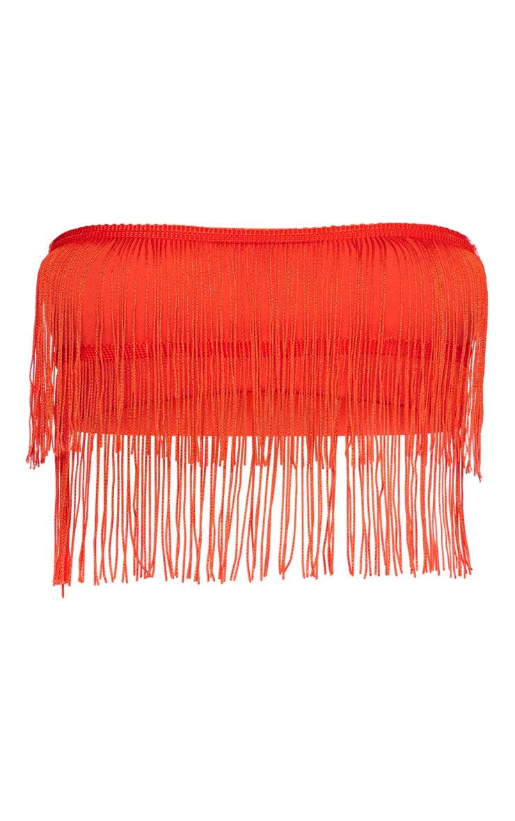 Bright Orange Bandeau Tassel Crop Top 3