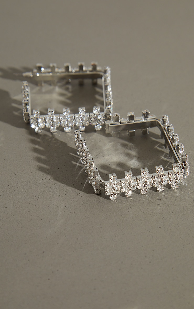 Silver Diamante Chunky Mini Square Hoop Earrings 2