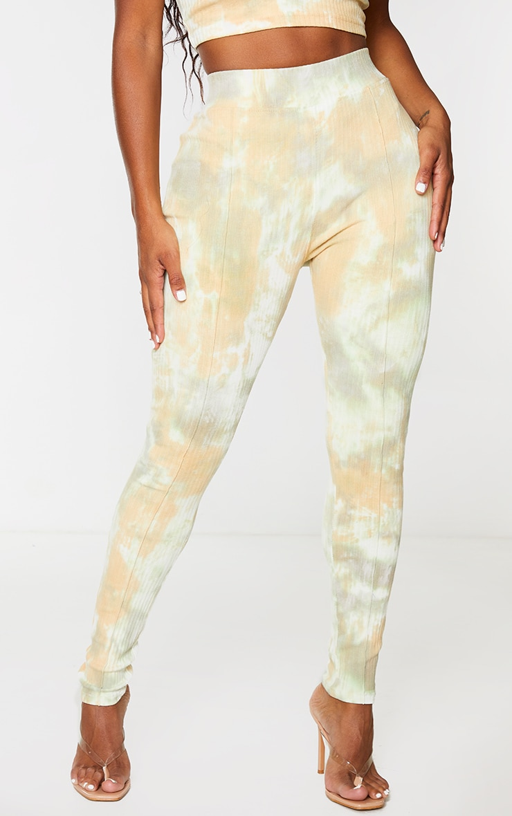 Shape Sage Green Tie Dye Thick Rib Leggings 2