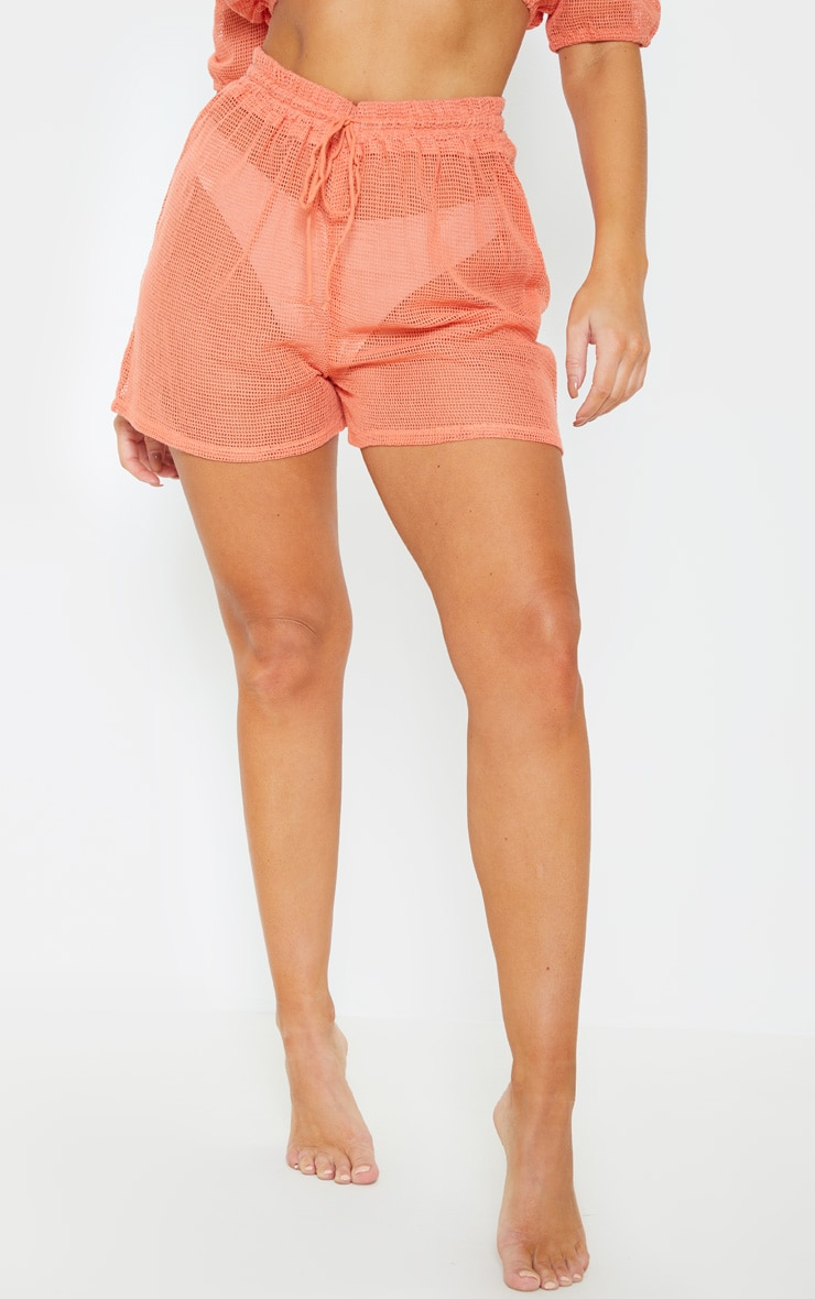 Coral Open Cheesecloth Crochet Short 2