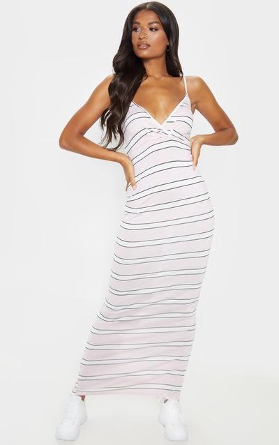 Pink Stripe Wrap Maxi Dress