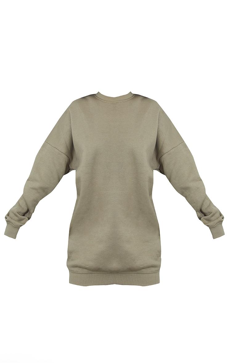 PRETTYLITTLETHING Washed Khaki Contrast Graphic Oversized Sweat Sweater Dress 5