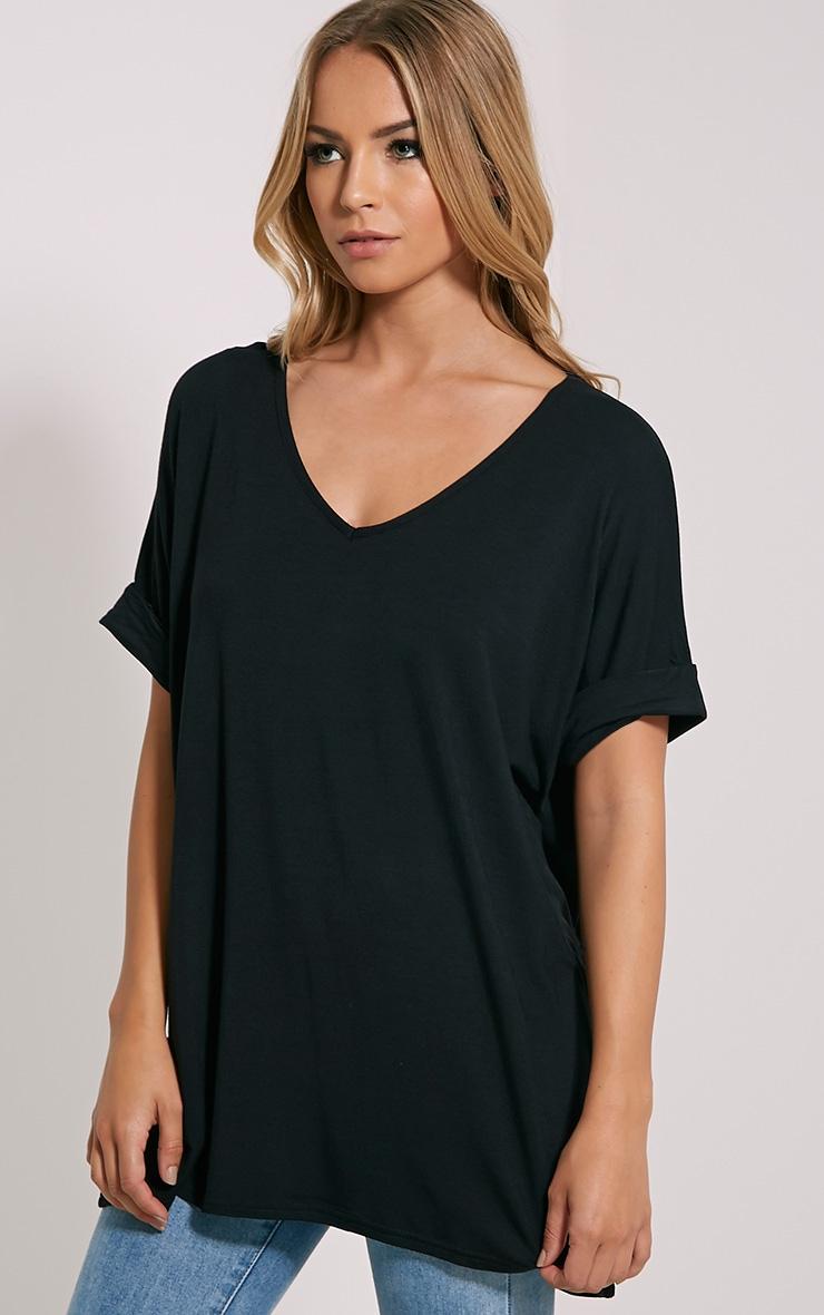Basic Black V Neck Oversized T-Shirt 4