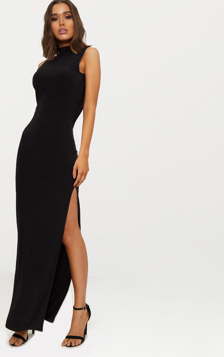 Black Slinky Cut Out Back Maxi Dress 2