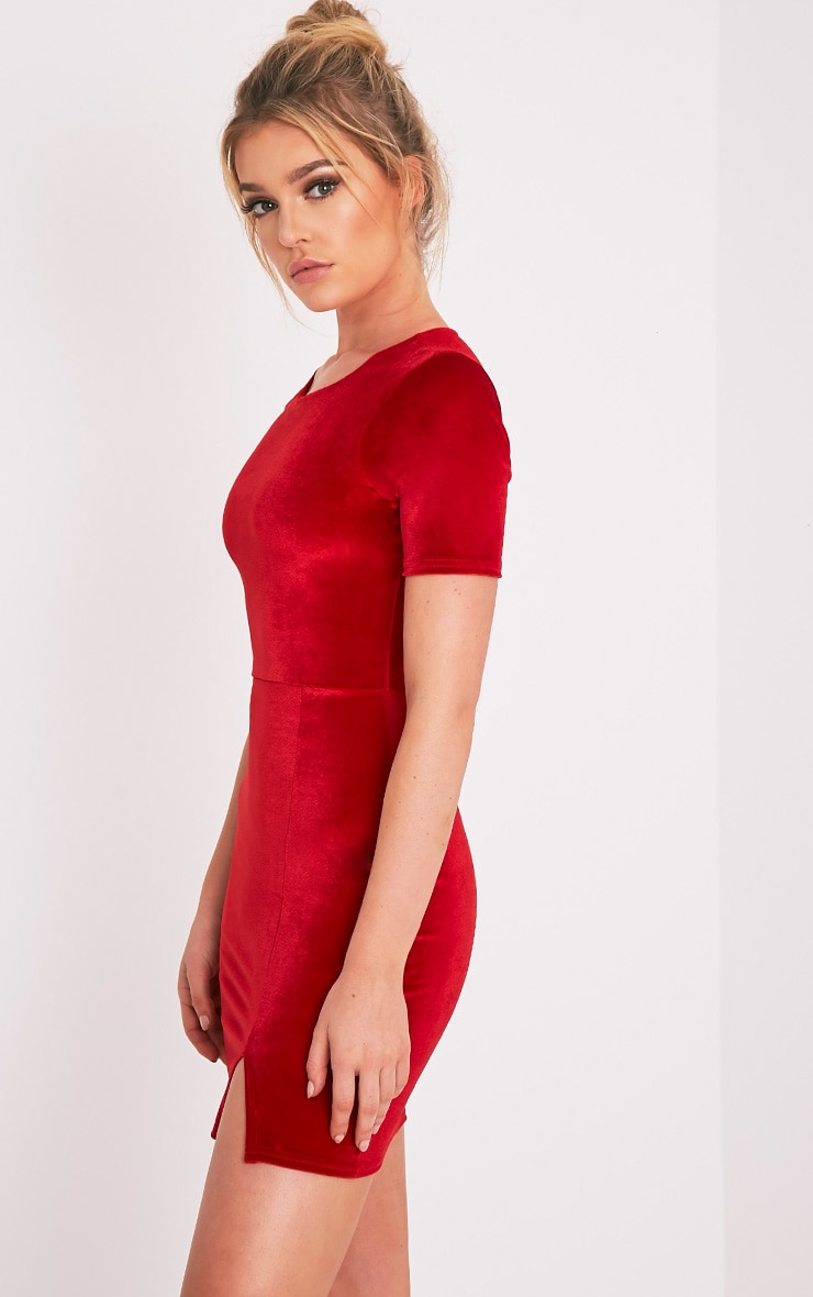 Freyah Red Velvet  Split Detail Bodycon Dress 4