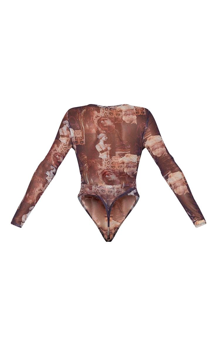 Shape Brown Renaissance Print Mesh Panel Cut Out Detail Bodysuit 6