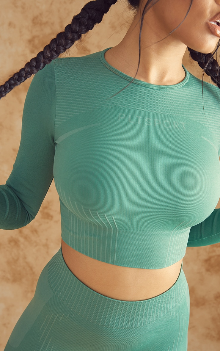 PRETTYLITTLETHING Green Contour Seamless Long Sleeve Gym Top 4