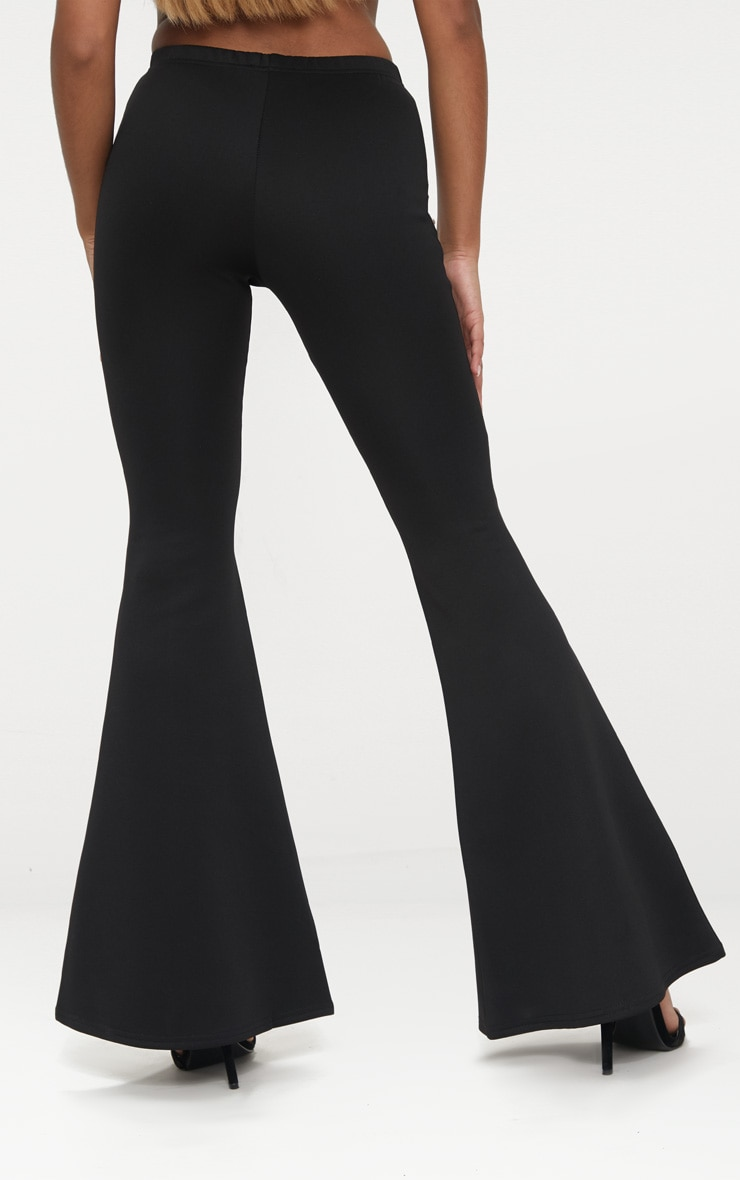 Petite Black High Waist Extreme Flare Trousers 4
