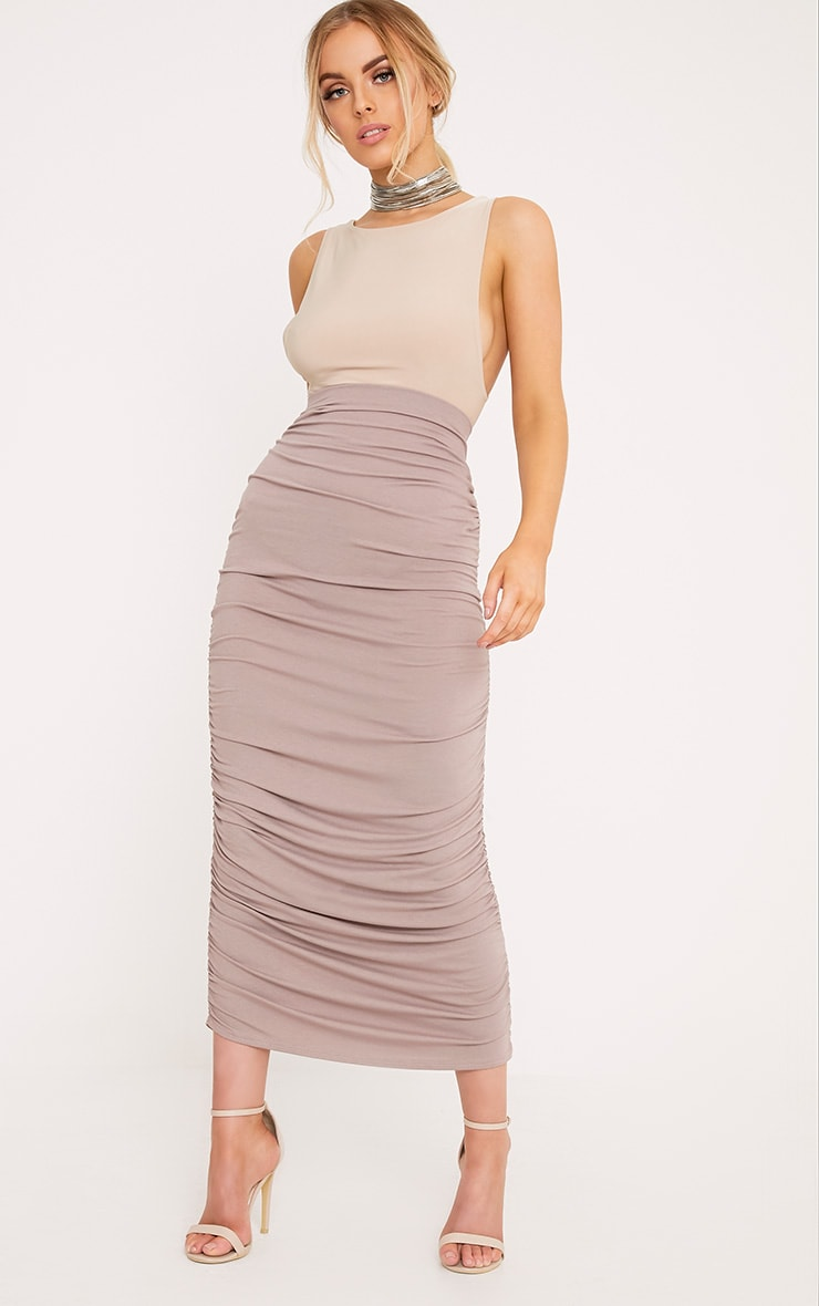 Taupe Second Skin Ruched Midaxi Skirt