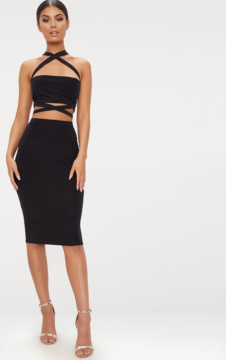 Black Slinky Midi Skirt 1