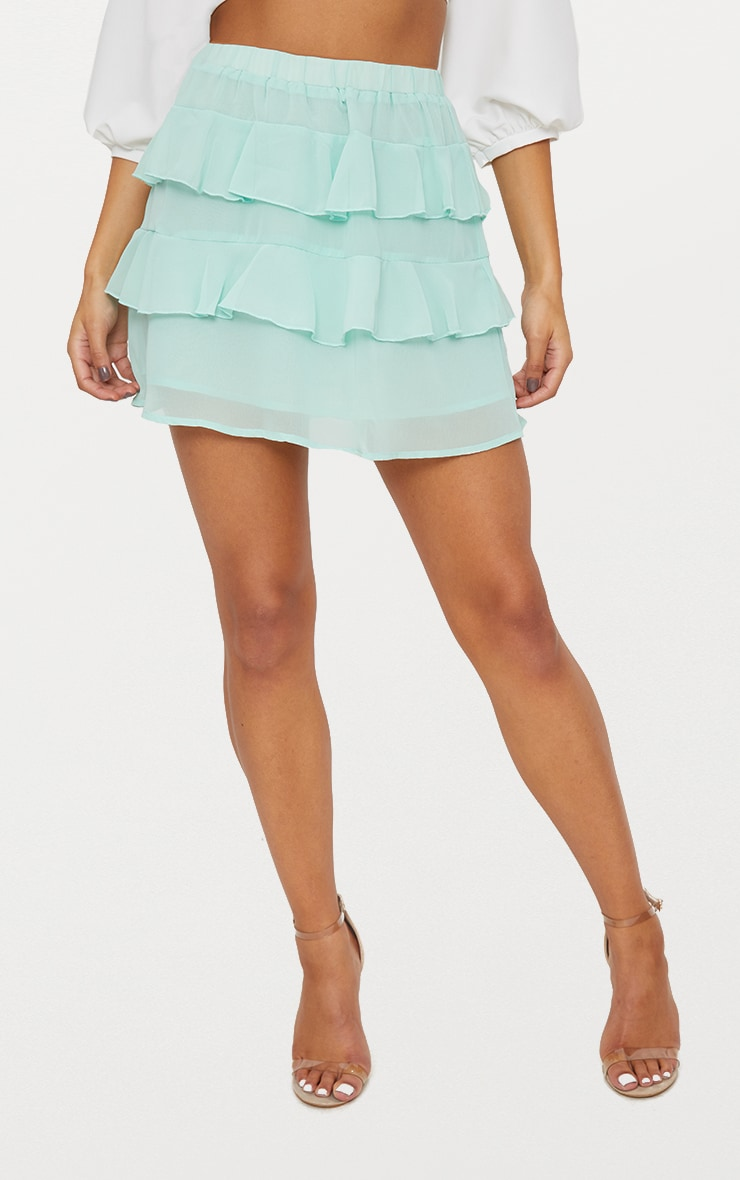 Sage Green Chiffon Ruffle Mini Skirt 2
