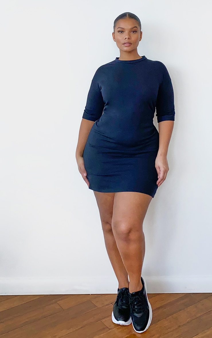 Plus Black Oversized Boyfriend Short Sleeve T Shirt Dress 3