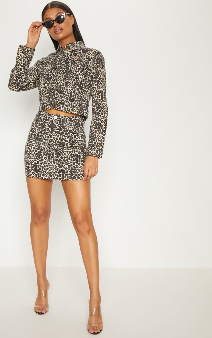 Leopard Cropped Oversized Denim Jacket 4
